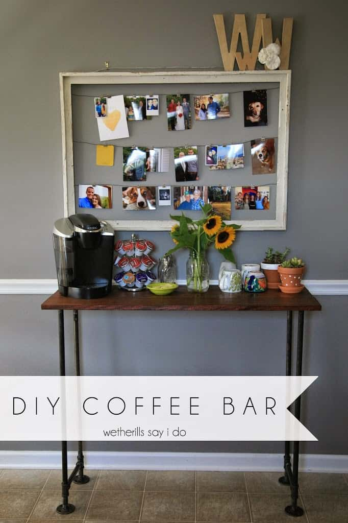 Diy coffee bar a joyfully mad kitchen for Coffee cart for home