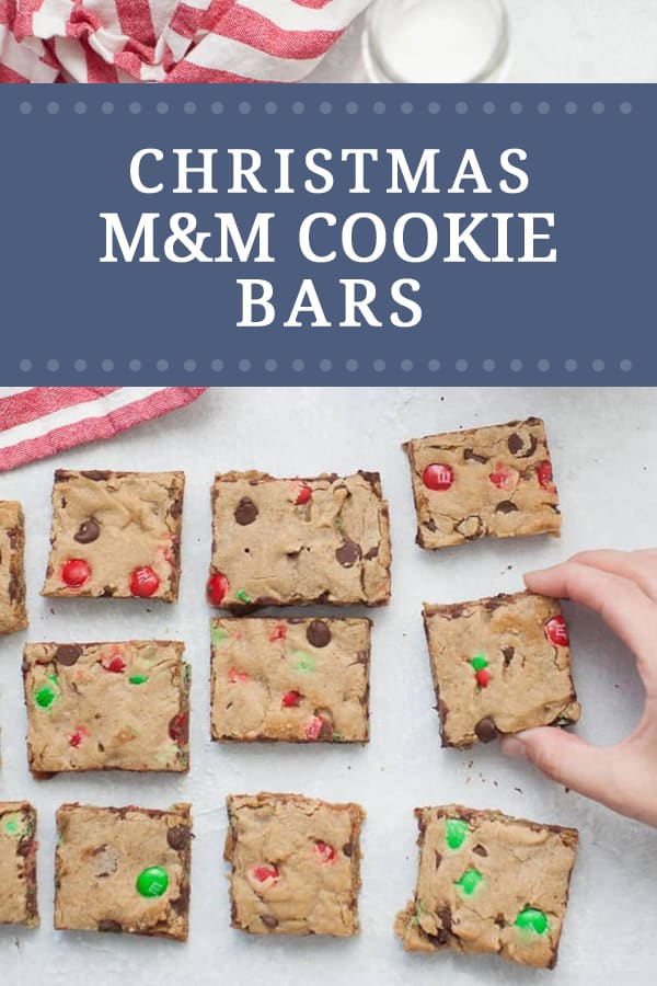 These thick and chewy M&M Christmas Cookie Bars are perfect for your holiday cookie exchange and holiday get togethers! These easy cookie bars are packed with red and green M&M's and chocolate chips in every bite.