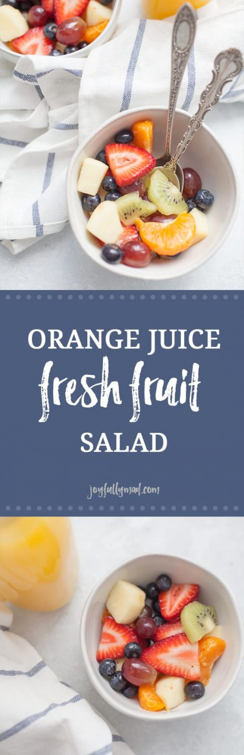 Orange Juice Fresh Fruit Salad is a twist on a classic fruit salad. It's perfect for serving for brunch, showers, or just as a healthy side dish for dinner! Perfect to customize with whatever fruit you have on hand, too!
