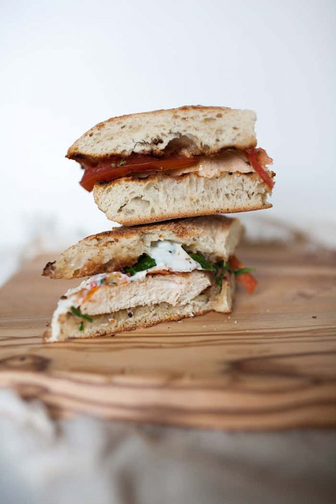 Easy chicken caprese lunch sandwiches stacked.