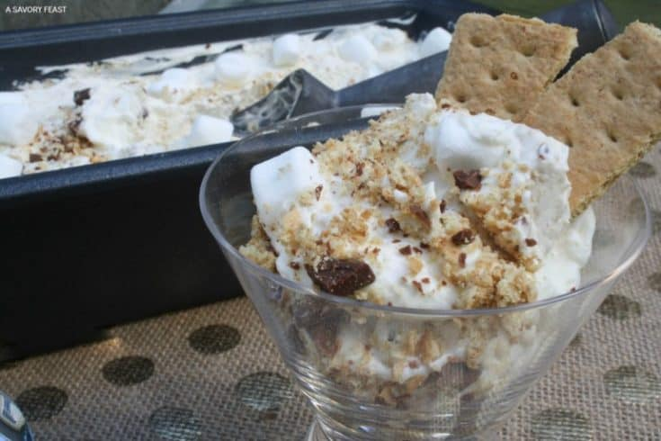 Get your s'mores fix without the campfire this summer with this easy s'mores no churn ice cream recipe!