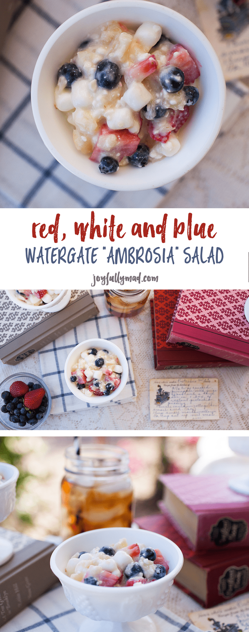 This new spin on a traditional pistachio salad recipe makes the perfect Memorial Day or 4th of July treat! Check out this Red, White & Blue Watergate Ambrosia Salad recipe!