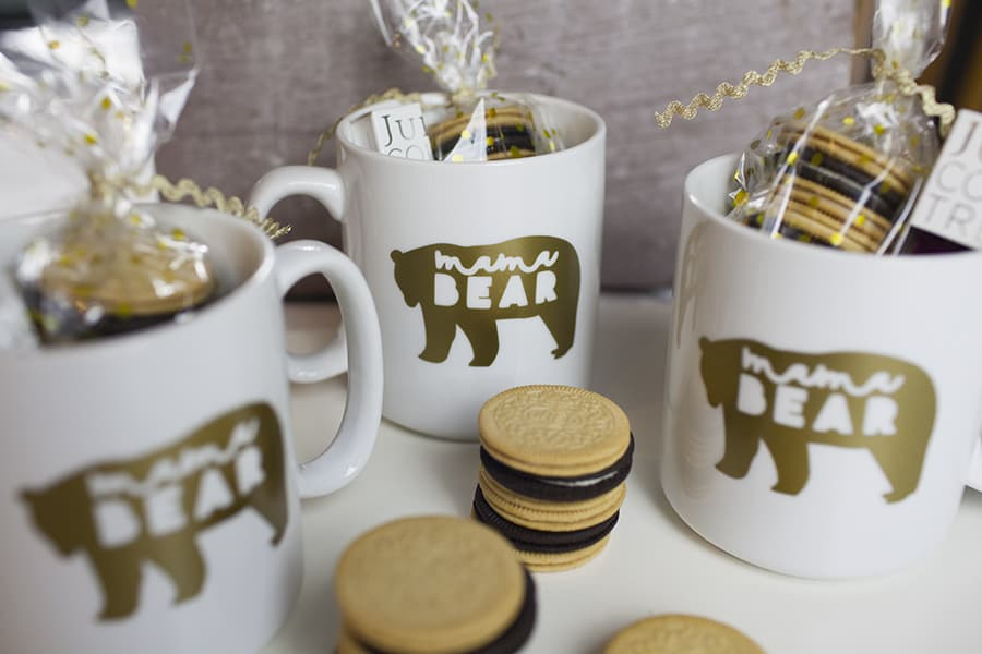"If you know a new mom who could use an encouragement to take some ""me"" time, this DIY Mama Bear Coffee Mug Gift is the perfect way to encourage her to take a little quiet time for herself with a mug full of coffee and OREO Thins!"