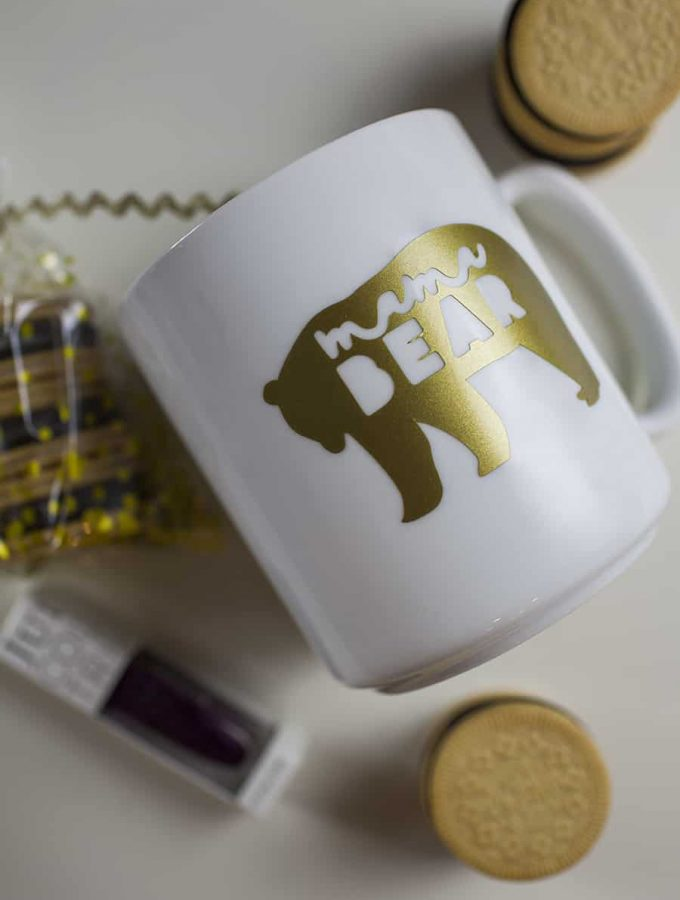 """If you know a new mom who could use an encouragement to take some """"me"""" time, this DIY Mama Bear Coffee Mug Gift is the perfect way to encourage her to take a little quiet time for herself with a mug full of coffee and OREO Thins!"""