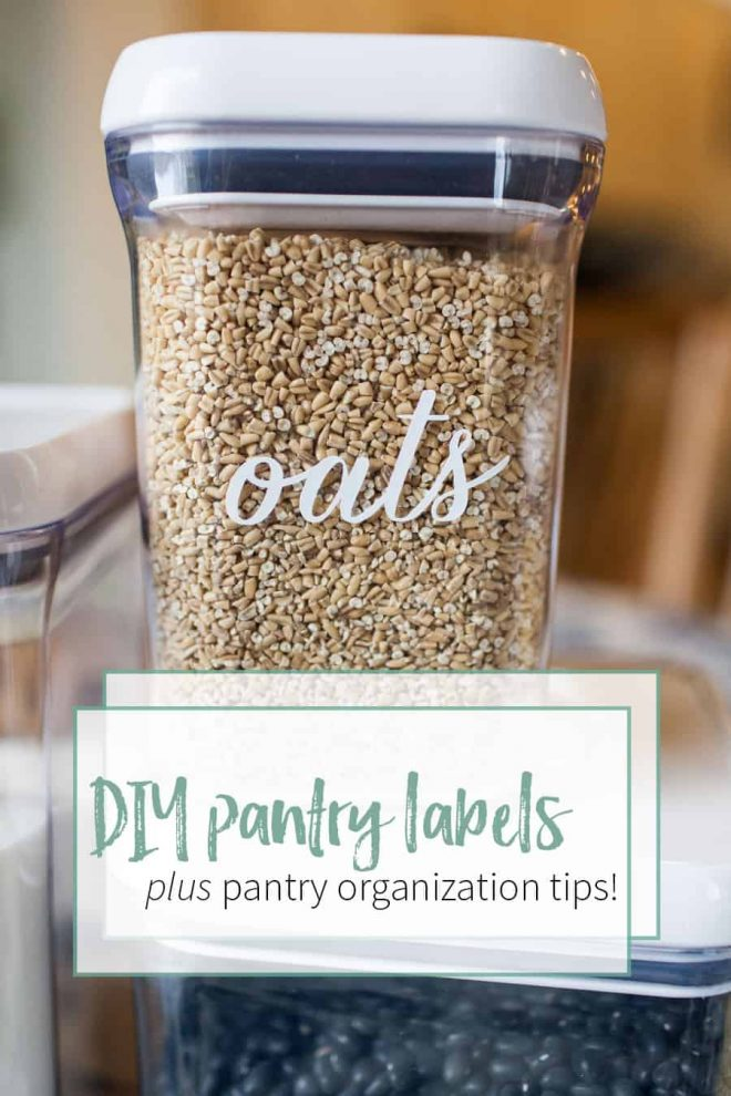 Organize your pantry with DIY pantry labels and kitchen and pantry organization tips! Downloadable Silhouette die cutting file included in post!