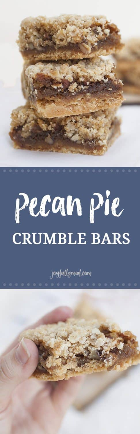 These pecan pie crumble bars are perfect for the holidays or when you need a little holiday spirit any time of the year! These bars have a shortbread pie like crust, gooey pecan pie filling, and the easiest crumble topping. After trying these, you may never need pecan pie again. If you're not usually a fan of pecan pie, give these pecan pie crumble bars a shot, they just may surprise you!