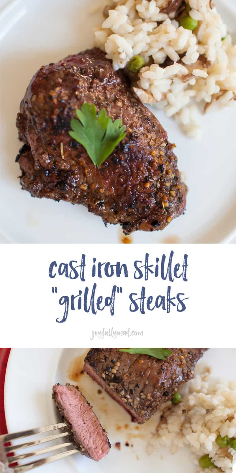 These cast iron skillet grilled steaks are so simple to make and a perfect way to celebrate any occasion! cast iron recipes | steak recipes | how to cook a steak | grilled steak | cast iron steaks | filet mignon | date night at home | date night recipes | steak dinner at home