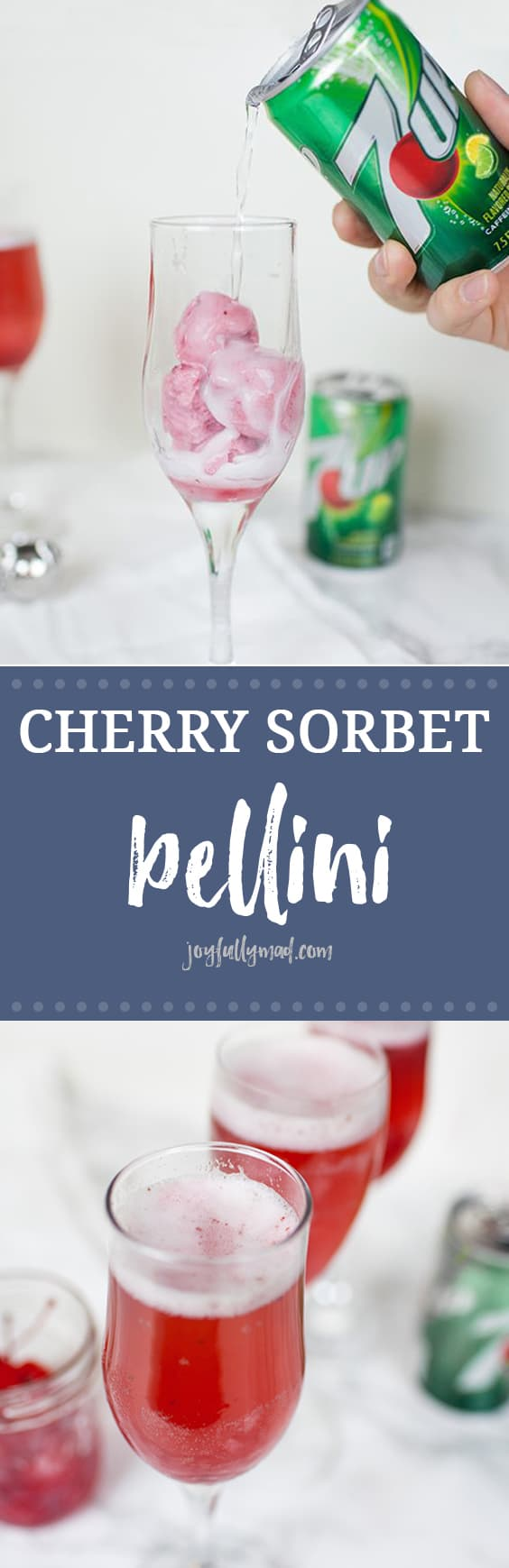 Cherry Sorbet Bellinis make the perfect easy party cocktail and punch idea for any party! Using 7UP®, champagne or prosecco, and black cherry sorbet, you can have a beautiful cocktail that's perfect for sharing! 7up | 7up cocktail | 7up drink | party drinks | party cocktails | shower drinks | proseco cocktails | champagne cocktails | baby shower punch recipe | bridal shower punch recipe | football drink recipes | valentine's day drink recipe
