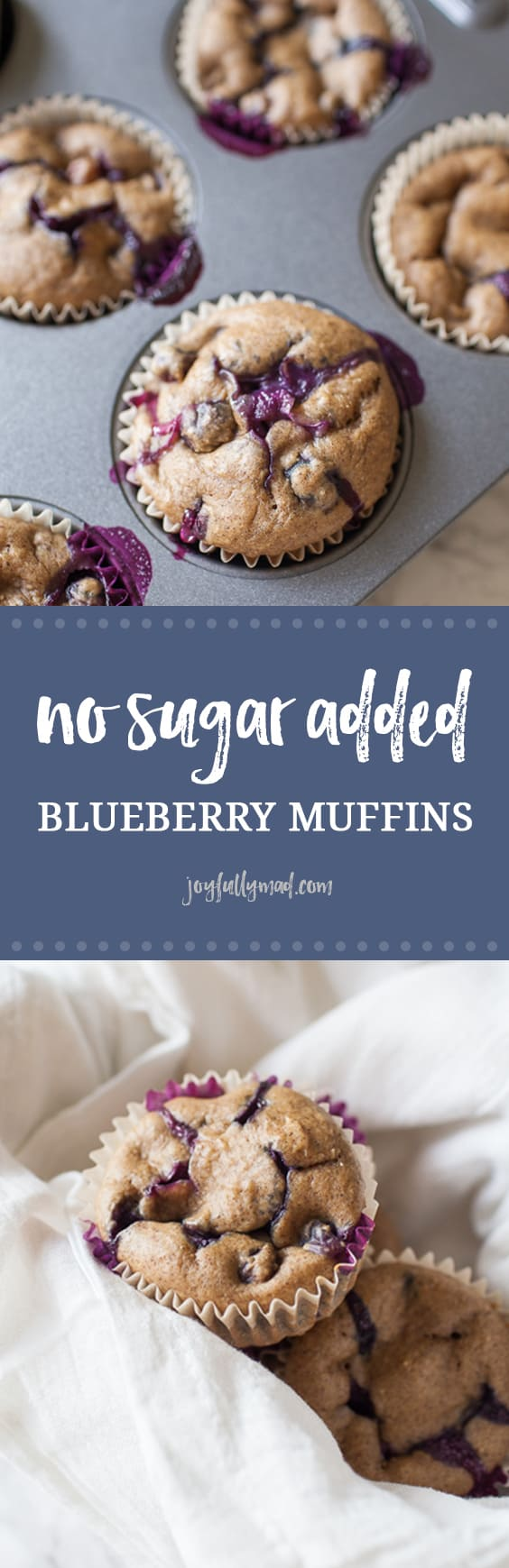 Looking for a healthy treat that can be served to adults and children alike? These healthy no sugar added blueberry muffins are the perfect treat because they are sweetened naturally with dates, instead of added sugar and can be quickly thrown together using just your blender! no sugar added | blender muffins | blueberry muffins | toddler snacks | toddler muffins | easy blueberry muffin recipe | no sugar added muffins | healthy muffins | easy muffins recipes