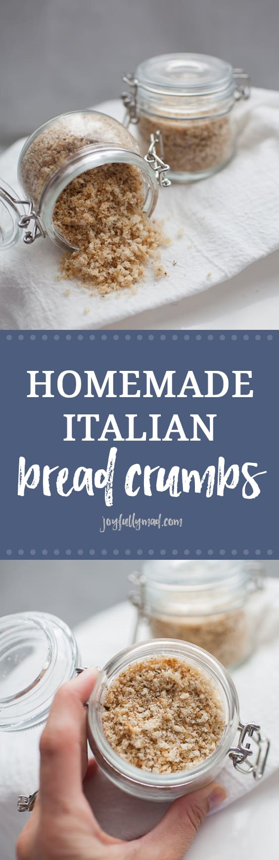 Homemade Italian Bread Crumbs are a pantry staple that you can make anytime using stale or toasted bread! It's the perfect way to customize your dish with fresh bread crumbs. homemade bread crumbs | homemade basics | pantry basics | stale bread | bread crumbs | breaded chicken