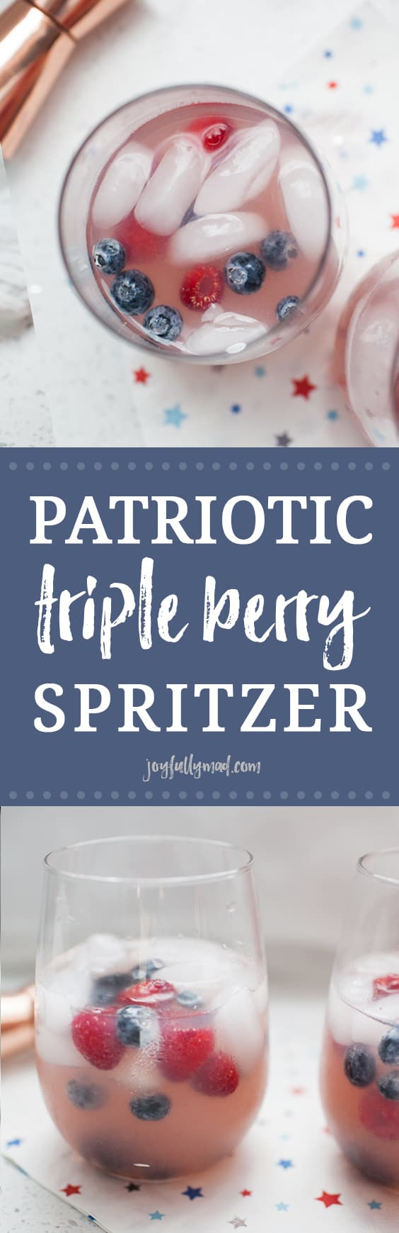 Celebrate summer and July 4th with this beautiful patriotic triple berry spritzer. Made with a triple berry simple syrup, tequila and lemon lime soda it's the perfect way to enjoy the summertime! 4th of july cocktail | patriotic cocktail | berry cocktail | triple berry spritzer | patriotic drink | berry drink | summer cocktail | tequila cocktail