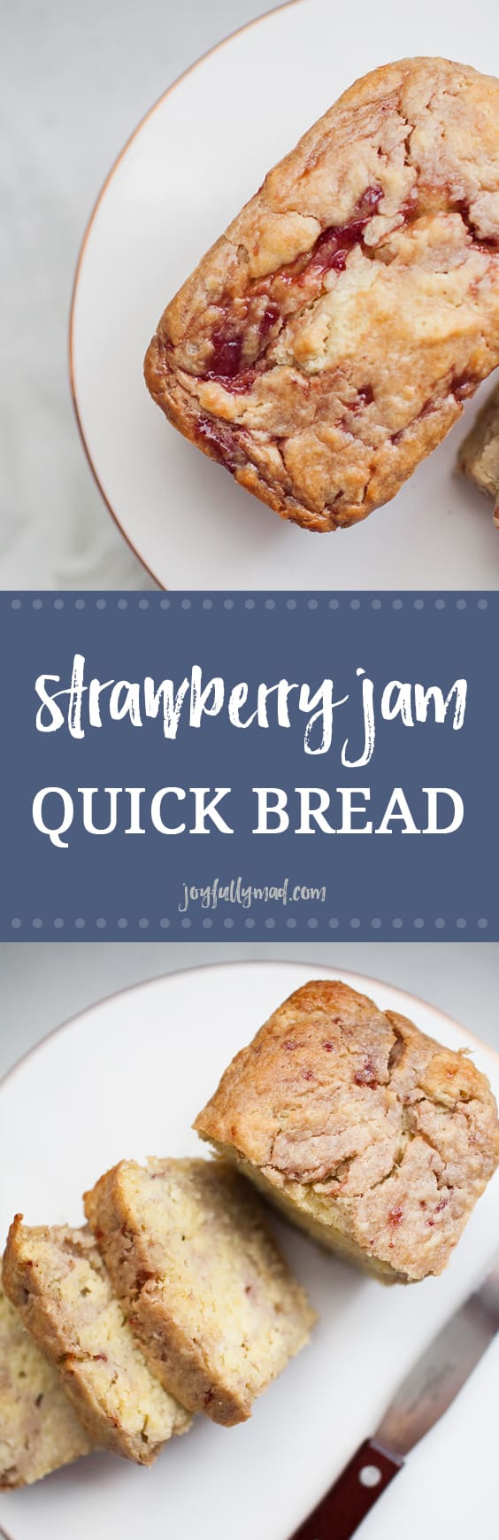 This strawberry jam quick bread is a special treat that the whole family can enjoy! Made with honey sweetened jam, it's the perfect little indulgence. Make mini loaves and give them as gifts!