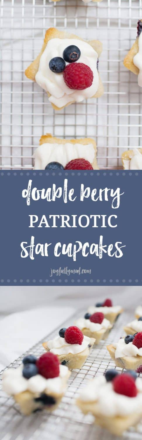 Need an easy and delicious dessert recipe for July 4th? These Double Berry Patriotic Star Cupcakes are fruity, light and perfectly patriotic!