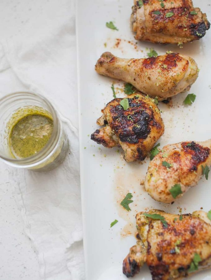 Grilled chicken is a staple of warmer weather! This grilled chili cilantro lime chicken will get dinner on the table in a hurry for your family and it will be packed with flavor! healthy grilled chicken | grilled chicken marinade | homemade marinade | chile lime chicken | cilantro lime chicken | lime grilled chicken
