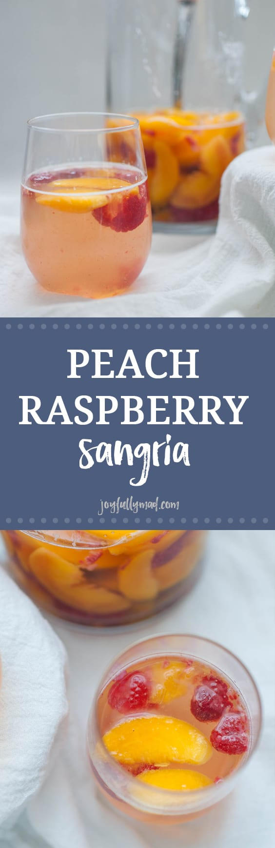 This Peach Raspberry Sangria is going to be the hit of all of your summer get togethers! A simple sangria recipe with peaches, raspberry, Moscato wine and a quick peach simple syrup makes this cocktail irresistible in the summer.