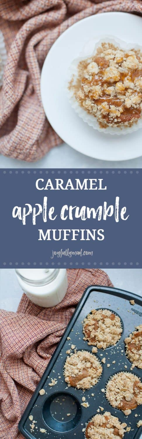 Start your morning with Caramel Apple Crumble Muffins, the perfect morning treat! These apple spice muffins have a simple muffin base with fall spices like ginger, nutmeg and cinnamon added to it. Topped with the perfect crumble topping and caramel drizzle, these muffins will have you wishing for fall year round!