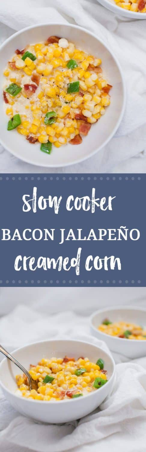 Looking for an easy comfort side dish that can be prepped ahead of time and is bursting with flavor? This Slow Cooker Bacon Jalapeño Creamed Corn is a family favorite that's perfect for fall! Made with corn, cream cheese, roasted jalapeños and bacon, this is not your average side dish.