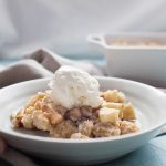 This fall apple crisp is an easy dessert that is perfect for any occasion this fall! Made with a mix of sweet and tart apples and topped with the perfect brown sugar oat crumble topping! It's best served warm with a scoop of ice cream but no matter how you eat it, it will be a crowd pleaser for sure.