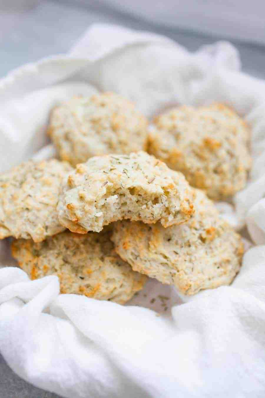 Love having bread with your dinner? These quick, goat cheese rosemary drop biscuits are the solution! These biscuits will trump any store bought bread and the best part is they're ready quickly. Start with a basic drop biscuit recipe and add in a hint of goat cheese and rosemary for a buttery, creamy biscuit. Serve with a slab of butter or as is and you have the perfect bread component to any dinner!