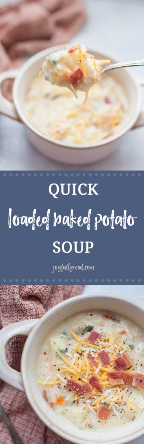 Quick soups are the best lunch or dinner option for the cooler months! Warm up with a bowl of this quick, loaded baked potato soup that is packed with veggies and toppings. This quick soup has a broth base which makes it lighter than other heavy potato soups. This lighter baked potato soup option is perfect for a hearty meal that won't weigh you down but definitely does not skimp on flavor!