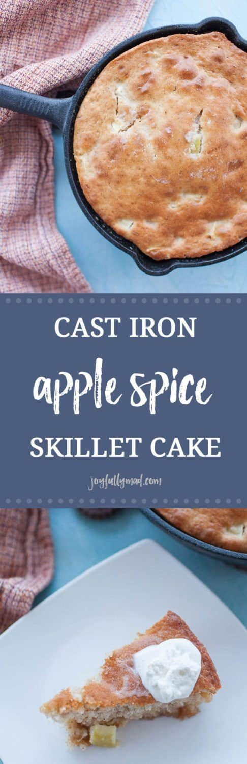 Cast Iron Apple Skillet Cake is the perfect fall dessert! It's quick and easy to make, needing only five ingredients, including a box of cake mix. This cake is baked in a cast iron skillet for an extra rustic touch and fun way to serve your dessert.