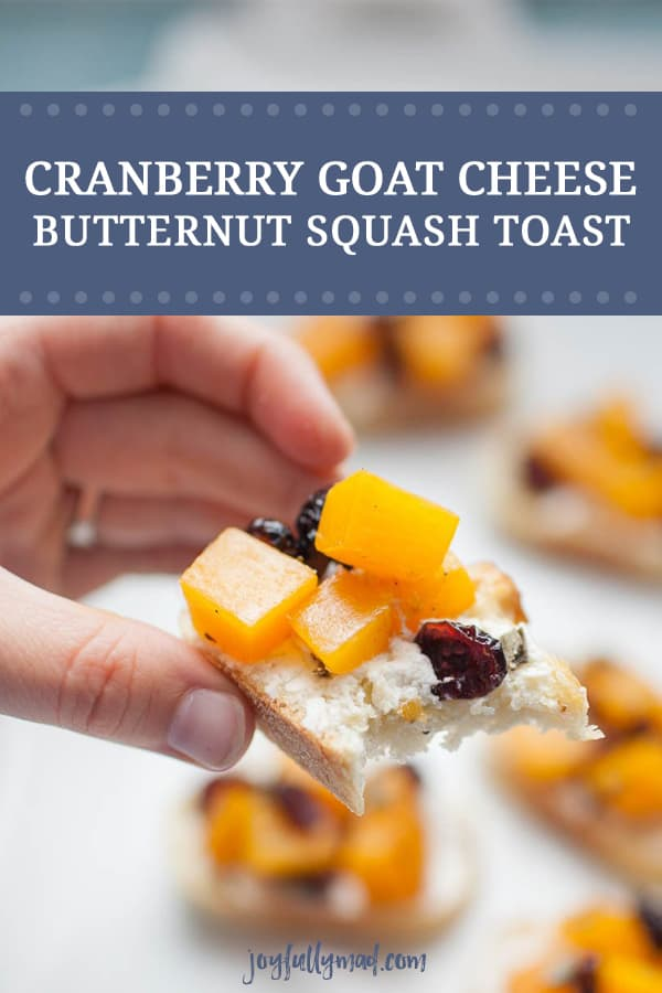 Looking for a perfect fall appetizer? Cranberry Goat Cheese and Butternut Squash Toast is perfect for fall parties, pre-holiday dinner snacks, or just as an appetizer before dinner. This butternut squash toast assembly combines all of the perfect fall flavors, with sweetness from cranberries and butternut squash met with the tanginess and softness of goat cheese spread on a toasted baguette.