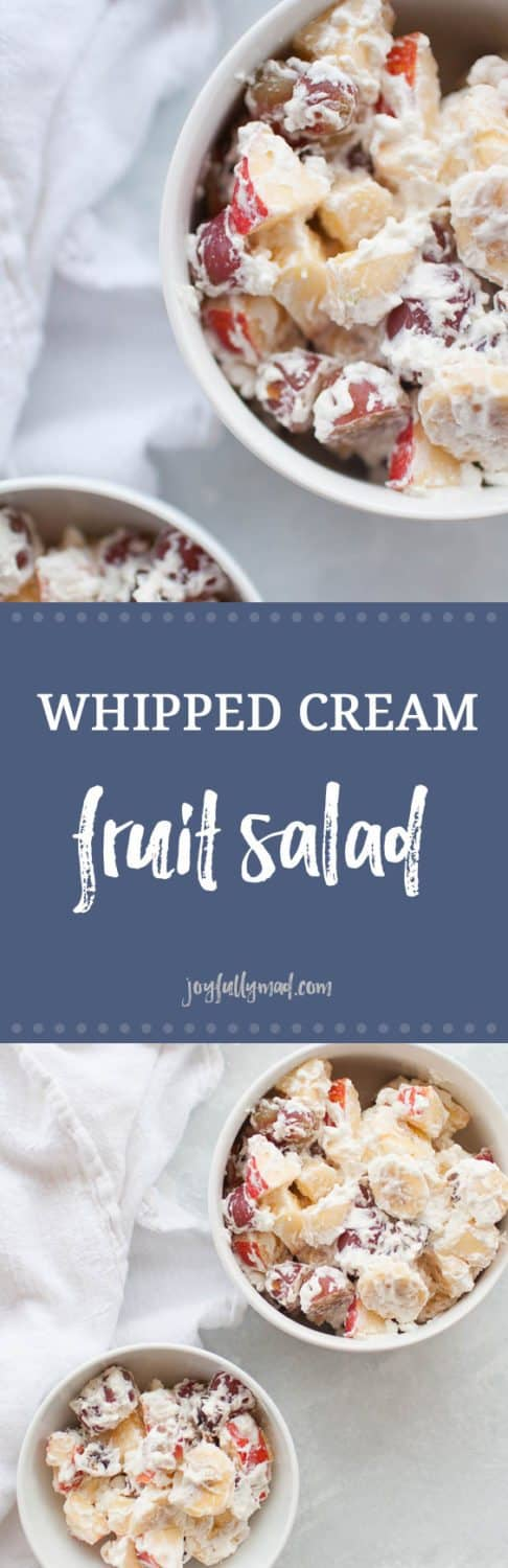 Whipped cream fruit salad is the perfect holiday side dish or dessert! It's made with fresh fruit like grapes, bananas and apples and homemade whipped cream, sweetened with a bit of honey, so this dish is perfect for the whole family. Serve with your turkey holiday dinners or as a part of your regular weeknight dinner menu.