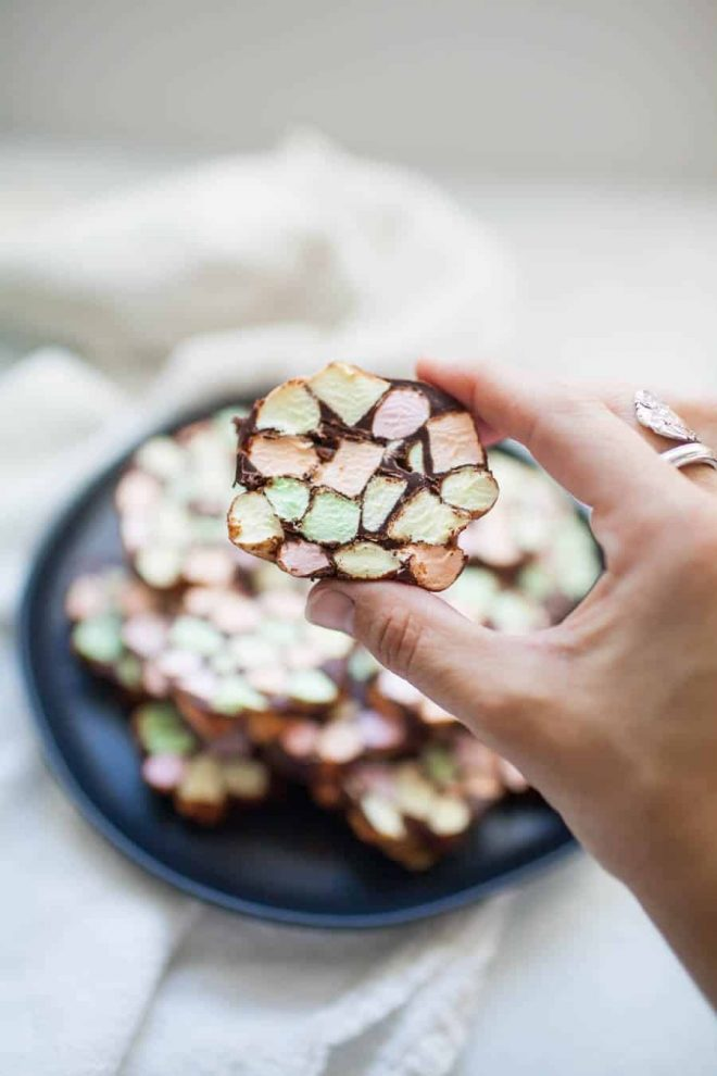 Looking for a different kind of treat to bring to a holiday get together this year? Stained Glass Window No Bake Cookies are one of the easiest desserts you can bring to a party and they're bound to be a hit! Anyone can make these no bake treats that are made with butter, mini colored marshmallows and melted chocolate chips. The mixture is rolled into logs and sliced into one inch thick cookies.