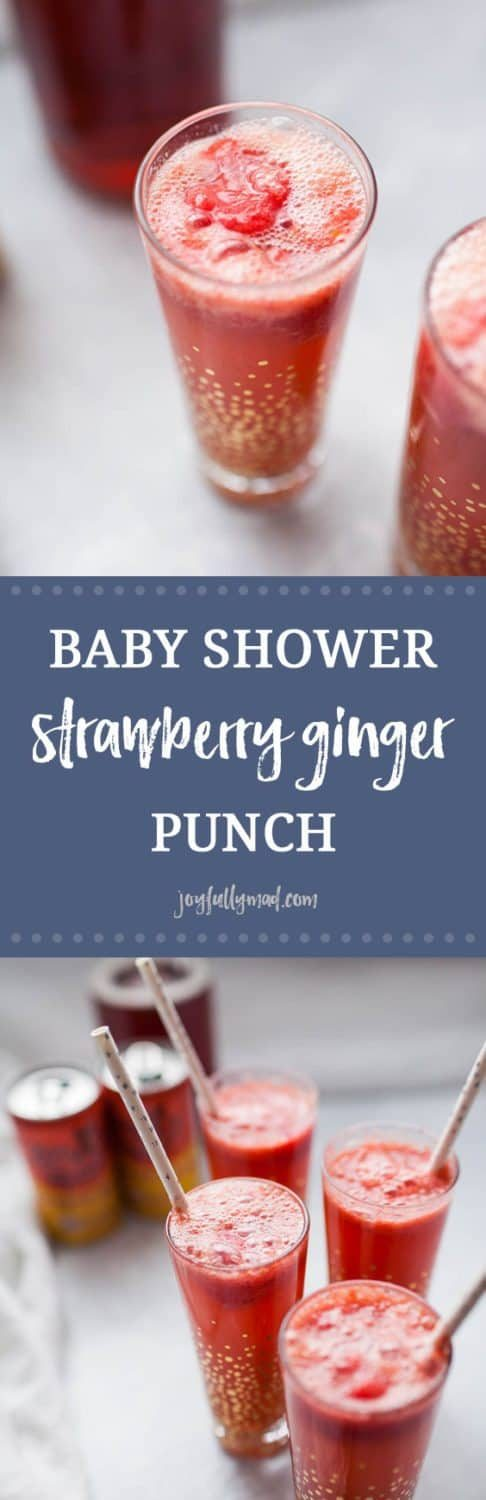 Looking for the perfect, easy drink recipe to serve at a baby shower or brunch? This no sugar added, strawberry ginger punch is perfect for showers, parties, or just for a fun non-alcoholic drink for anytime! It's made with stevia-sweetened ginger beer, homemade strawberry sorbet and a splash of cranberry juice. This punch is flavorful and just sweet enough, without any artificial or added sugars!