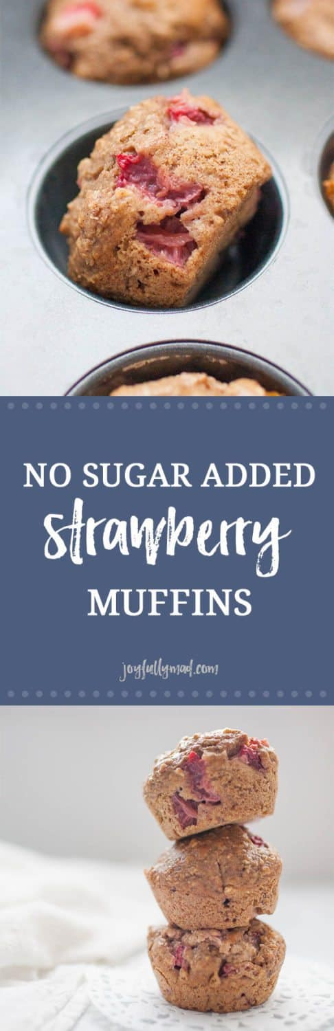 These delicious muffins are quick to make, sugar free and healthy for the whole family! No Sugar Added Strawberry Muffins are sweetened with dates and a splash of maple syrup, but their true sweetness comes from the fresh strawberries! These blender muffins are the perfect before school treat or afternoon snack.