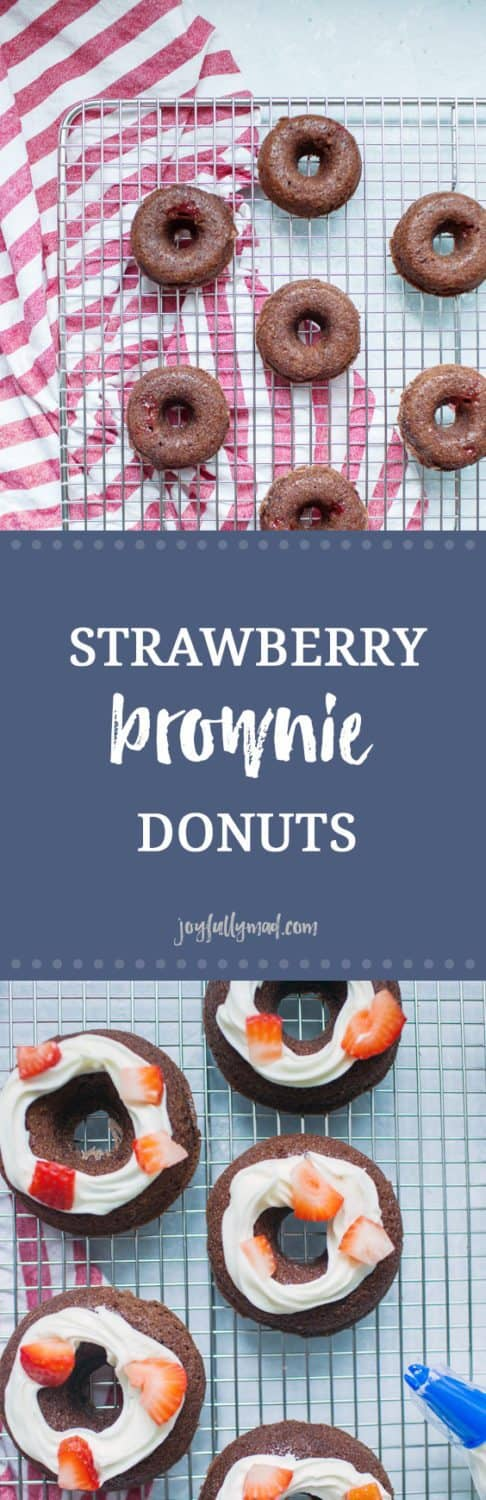 Strawberry Brownie Donuts are the perfect festive dessert for a party or just because! Making these brownie donuts is beyond simple because they're made using brownie mix with fresh strawberries added in and on top. This strawberry brownie donut mix is perfect as regular sized donuts or mini donuts, because everything is better in miniature form! These strawberry brownie donuts are rich, indulgent and perfectly sweet!