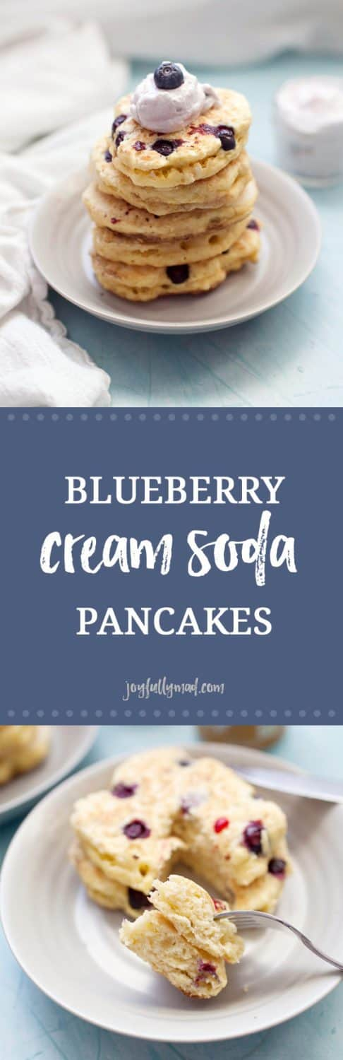 Pancakes made from scratch are the perfect morning breakfast. These blueberry cream soda pancakes are creamy, fluffy and sugar free! Switch up your usual breakfast routine of regular pancakes and make these creamy blueberry ones instead. A simple homemade pancake recipe plus cream soda and blueberries is all you need for a special breakfast treat.