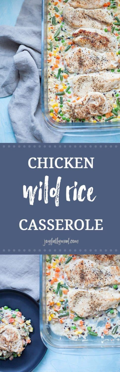 This chicken wild rice casserole is a classic, quick dinner option that the whole family can enjoy. This casserole is made with chicken, cream of celery and frozen veggies. It's perfect for busy nights or making ahead of time! This recipe is a simple twist on a comforting casserole that the whole family will love.