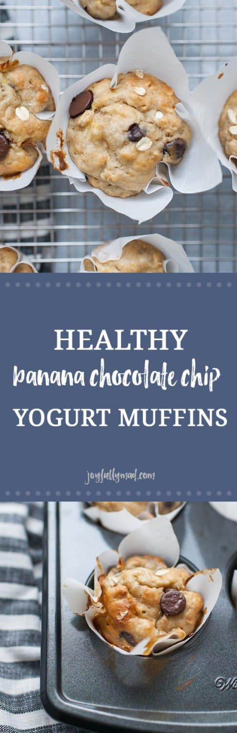 Healthy banana chocolate chip yogurt muffins are the perfect way to start your day! These healthy muffins have no added sugar, they are simply sweetened with bananas and chocolate chips! These oat filled muffins are gooey and soft. Made with flour, oats, yogurt, bananas and chocolate chips, they are a simple morning treat!