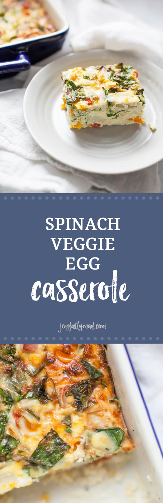 Looking for an easy breakfast to make for a crowd or to prep for the week ahead? This spinach veggie egg casserole is packed with veggies and can be customized to include meat or be vegetarian! This is the kitchen sink of breakfast casseroles that can be customized to use up those veggies in your fridge! Get ready for a delicious, filling breakfast for the whole family to enjoy.
