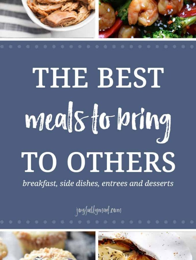 There are so many options of meals that you can bring to someone! Breakfast items like muffins and casseroles, snacks and side dishes, main courses like casseroles and soup, and of course, desserts are all great things to bring over to someone in need.