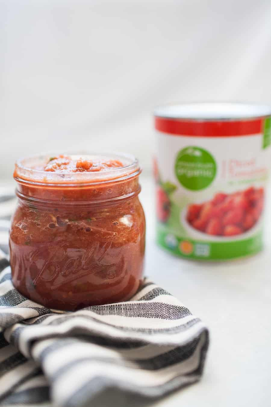 Five Minute Blender Salsa is the easiest way to enjoy fresh, delicious restaurant style salsa at home! One batch makes enough for a crowd and can be made in minutes with a blender or food processor. See how easy (and delicious) this restaurant style salsa is!