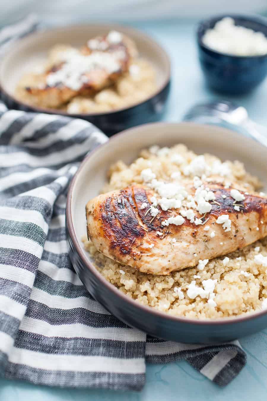 Pan Seared Peach Balsamic Chicken is a healthy, simple weeknight dinner that the whole family will enjoy. Mix up a quick marinade with olive oil, peach balsamic vinegar and spices, let it sit for a little while in the fridge, then pan sear and cover to let it cook through.