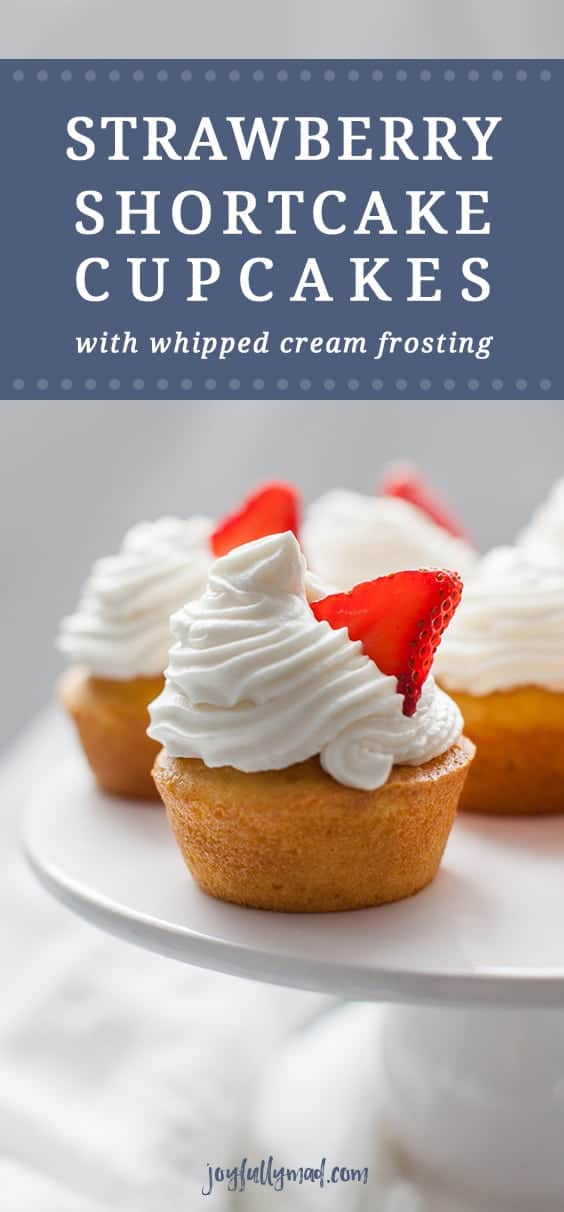 Strawberry Shortcake Cupcakes are the perfect dessert for any occasion. These cupcakes are light and fluffy and bring the experience of eating strawberry shortcake into a cupcake! Spruce up a boxed cake mix with a few add ins and your own homemade whipped cream frosting that tastes just like the real thing. #strawberry #easydessert #cupcakes #whippedcream #strawberryshortcake