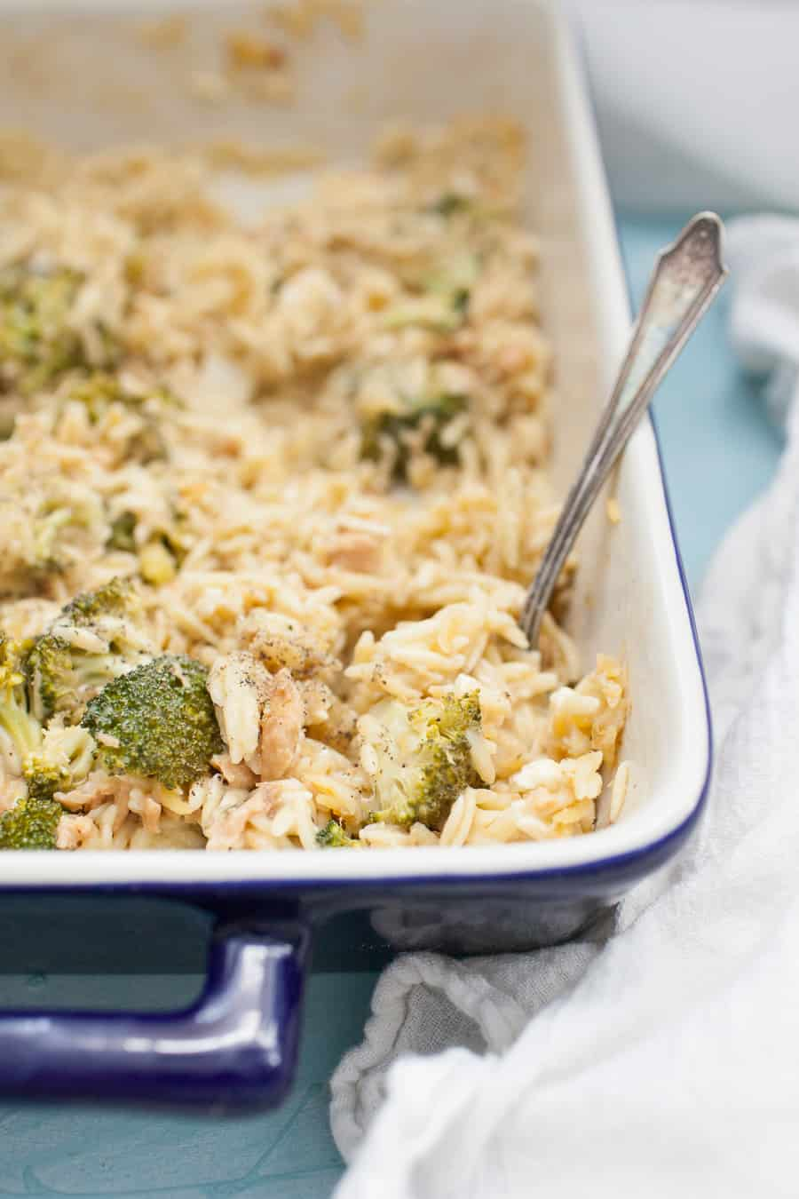 This quick Chicken Broccoli Orzo Casserole is the perfect weeknight dinner solution that you can throw together in a hurry. It has everything you need in it: orzo pasta, broccoli, feta cheese and chicken. It's made with cream of celery soup, broth and spices to bring everything together in 30 minutes!