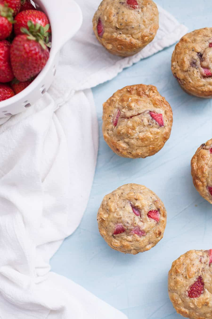 No Sugar Added Strawberry Chia Seed Muffins are such a fun treat to have on hand this week! They are so easy to make, no fancy ingredients required, even though they are sugar free! These no sugar added muffins get their sweetness from applesauce and strawberries, which are really the star of the show. Pack in some extra protein with chia seeds and these muffins are a true powerhouse.