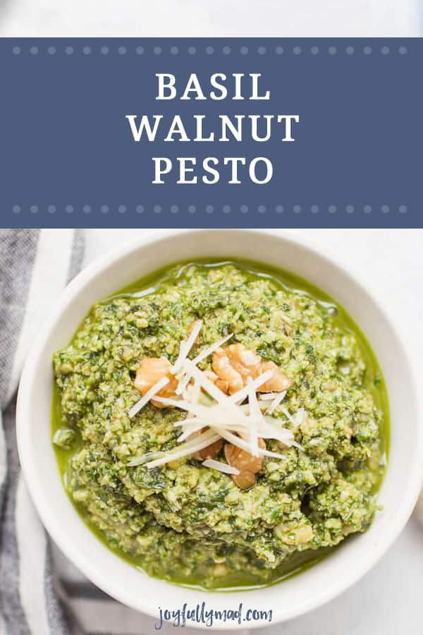 If you've ever wanted to make homemade pesto, here is a perfect recipe to try out. Making pesto is really all about the ratio of ingredients and this post will teach you the perfect ratio for homemade pesto, including this Basil Walnut Pesto Recipe.